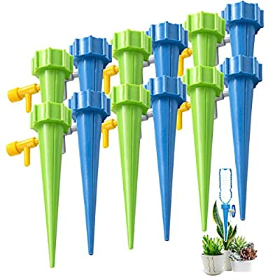 Self Watering Spikes?Slow Release Control Valve Switch Automatic Irrigation Watering Drip System?Adjustable Water Volume Drip System for Outdoor and Vacation Plant Watering-12Pack?6 green&6 blue? from QQCherry
