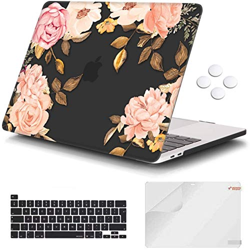 Macbook Pro 13 inch Case 2020 Release A2338 M1 A2251 A2289, iCasso Plastic Hard Shell Case Protective Cover & Keyboard Cover Only Compatible New Macbook Pro 13 inch with Touch Bar - Floral