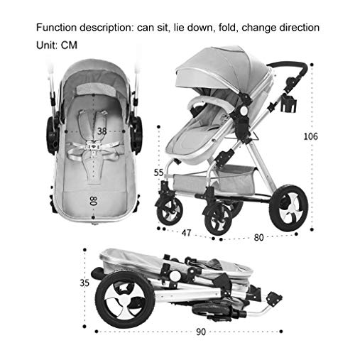 Purchase LXJ Baby Stroller,High-View Baby Stroller, can sit,Infant Toddler,Reclining and Folding Two...