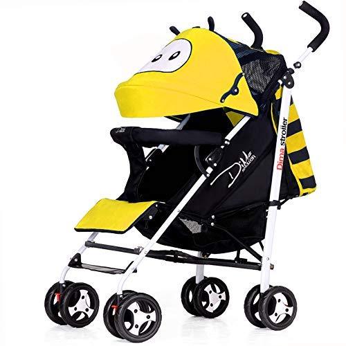 WJSW Kinderwagen Faltbar Kann Hinlegen Stoßdämpfer Vier Räder Lauflernwagen Leichte Kinderwagen Jogger Kinderwagen, Gelb