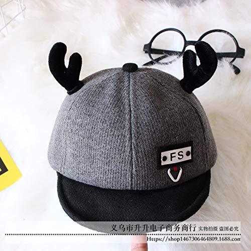 mlpnko Kinderhüte, Hörner, Mütze, Cartoon, süße, weiche Mütze, Babymütze, grau, 48-50CM