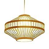 Luz Tejida De Bambú Chino Candelabros Creativos Decoración Colgante Luz Accesorios para Colgar Luz De Mimbre con Sombra De Jaula De Pájaros para Sala De Dinging Sala De Estar De Granja E27