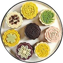 4pcs 3D Flower Stamps Moon Cake Decor Mould Barrel Round Mooncake Mold 125g