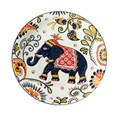 Placa de la ensalada de placa de porcelana Láminas de color de la placa de seguridad Adecuado para la mesa de vajilla Familia Placa de cena de la cocina Buena placa de regalo Se puede usar en el horno