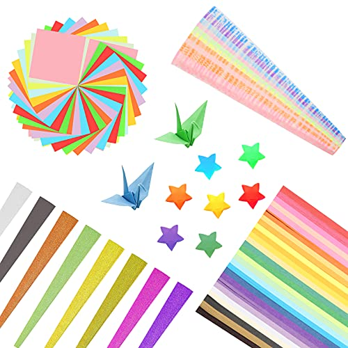 BELIOF 1600 Pcs Origami Papel Estrellas Tira de Origami Estrellas de Origami 27 Colores Tiras de Papel para Estrellas DIY Manualidad Bricolaje Artesanía para Niños 4 Estilos Regalo de Creatividad