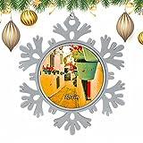 España Mijas Málaga Navidad Árbol de Navidad Copos de Nieve Adornos de Metal Adornos Colgantes Decoración del hogar 3 '× 3' Pulgadas-Winter Wonderland Holiday Suministros para Fiestas de año Nuevo