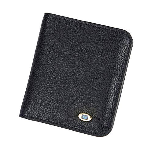 YNSH Smart Anti-Lost Wallet, mit Alarm, Bluetooth, Positionserfassung (über Telefon GPS) Echtes Leder-Kartenpaket Reißverschluss-Geldbeutelhalter-black