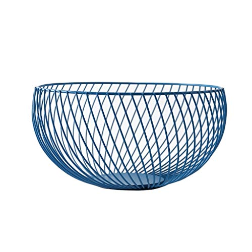 Lanna Coupe à Fruits décorative en métal, Porte-Fruits/Support à gâteaux/Plat à gâteaux, Bleu, diamètre 25,5 cm
