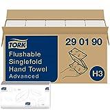 Tork 290190 Toallas de mano Advanced desechables, plegadas en V compatibles con el sistema de Tork H3, 2 capas, blanco, 15 x 250 hojas (23 x 23 cm)