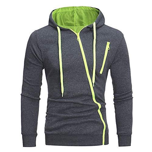 PRJN Mens Casual Slim fit Hooded Cardigan Sweater with Diagonal Zipper Zipper Mens Casual Slim Hooded Cardigan Sweater Color Matching Diagonal Zipper Mens Casual Slim fit Hooded Cardigan Gray