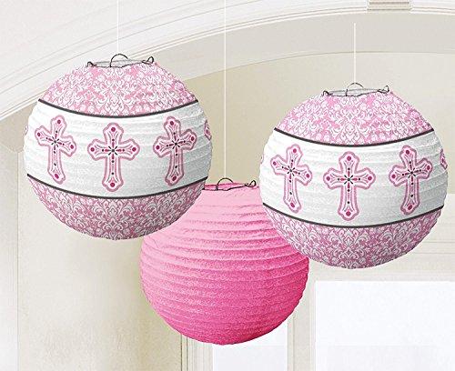 Feestelijke feesten voor communie vormsel I 6 delen lampions papieren lantaarn meisje roze kruis 24 cm omtrek