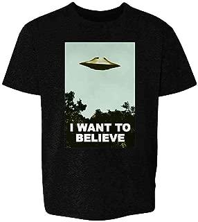 I Want to Believe UFO Aliens TV Retro 90s Toddler Kids Girl Boy T-Shirt