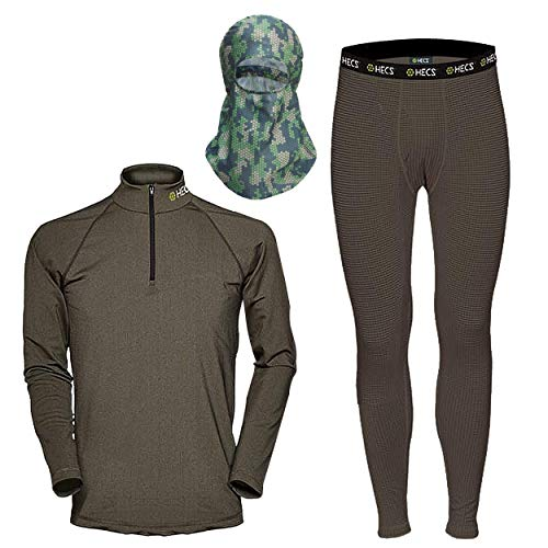 HECS Hunting 3-Piece HECStyle High Performance Base Layer - Outdoor Hunter's Clothing, Moisture Wicking Underwear for Men and Women - Hunting Gear - Large