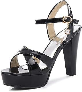 Women's Chunky High Heel Sandals Cross Strap Open Toe Dress Platform Sandal