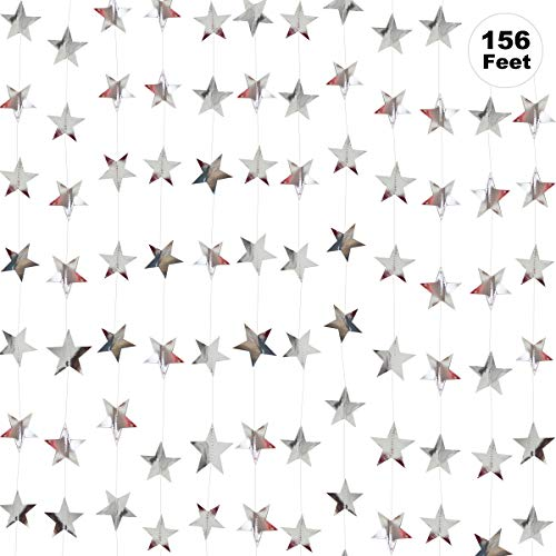 Silver Star Garland Banner Decorations - 156 Feet Bright Silver Paper Garland Hanging Decorations, Glitter Silver Star Bunting Banner for Wedding, Birthday, Holiday, Christmas Party