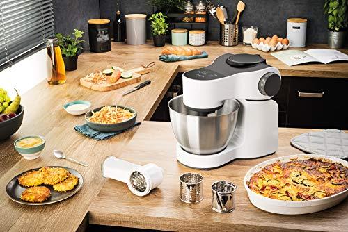 Krups KA3121 Master Perfect Küchenmaschine (1000 Watt, Gesamtvolumen: 4 Liter, inkl.: Back-Set, Aufsatz Schnitzelwerk mit Reibekucheneinsatz) weiß - 6