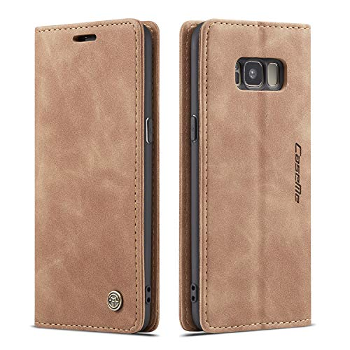QLTYPRI Hülle für Samsung Galaxy S8, Vintage Dünne Handyhülle mit Kartenfach Geld Slot Ständer PU Ledertasche TPU Bumper Flip Schutzhülle Kompatibel mit Samsung Galaxy S8 - Braun