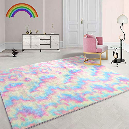Maxsoft Furry Kids Rainbow Rugs, Colorful Area Rug for Girls Bedroom, Nursery, Play Room, Fuzzy Carpet for Living Room, Home Decor (6x9 Feet)