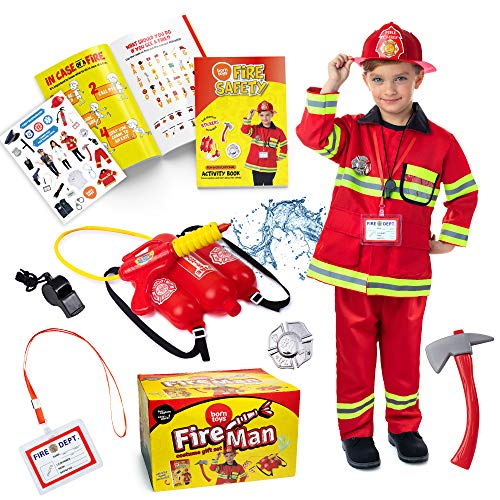 Born Toys Ultimate Fireman Costume for kids, Washable fire coat, pants,helmet,accessories with fire shooter and Fire Safety Activity Book