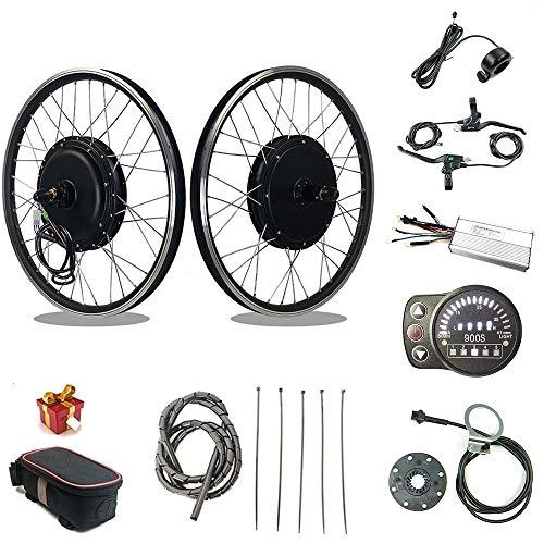 RICETOO Kit de conversación de Bicicleta eléctrica 1500W Rueda de Motor de Cubo 48V con KT LED900S Motor de Rueda de Casete Trasero Kit de conversación de Bicicleta eléctrica E (48V 1500W 27.5inch)