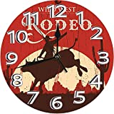 GeT_RiGRT Rodeo Cowboy Riding Bull Wooden Old Sign Western Style Wilderness at Sunset ImageSilent Non-Ticking Quartz Decorative Battery Operated Wall Clock for Living Room Home Office 10in