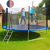 KimBird 12FT Children & Adult Trampoline with Safety Enclosure Net, Jumping Mat and Spring Cover Padding Safety Pad Ladder Jumping Mat, Combo Bounce Jump Outdoor for Family School Entertainment