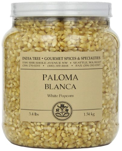 Best Review Of India Tree Paloma Blanca (White) PopCorn, 3.4 lb (Pack of 2)