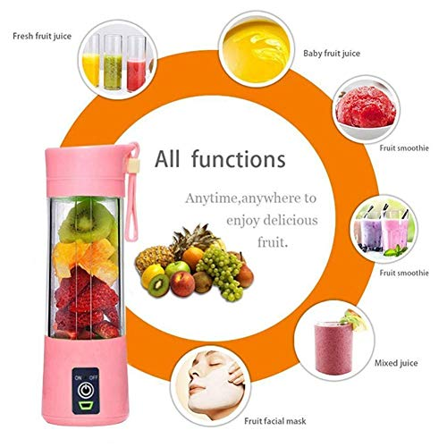 Portable Blender, Juicer Elektrische USB oplaadbare Smoothie Blender Machine Mixer Mini Juice Cup Maker fast Blenders keukenmachine, Six Blades, 380ml
