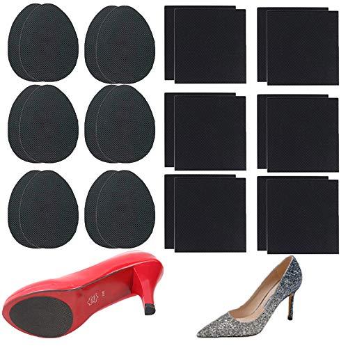 24Pcs Non-Skid Shoe Pads  Anti-Slip Shoe Grips for High Heels  Self-Adhesive Non-Slip Shoes Pads  Wear-Resistant Rubber Sole  Non-Slip Noise Reduction for Men&Women s Boots  Flats Etc (Black)