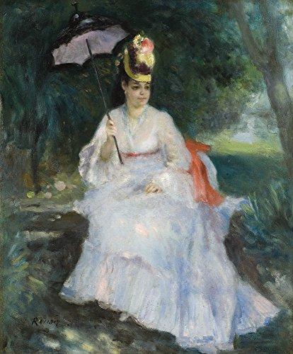 Het Museum Outlet - Vrouw met Paraplu Zittend in de Tuin (Lise Trehot), 1872, Stretched Canvas Gallery verpakt. 20 x 28
