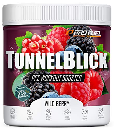 Pre-Workout-Booster Trainingsbooster Tunnelblick mit Citrullin, Taurin, Koffein & Guarana - MADE IN GERMANY - Wild Berry