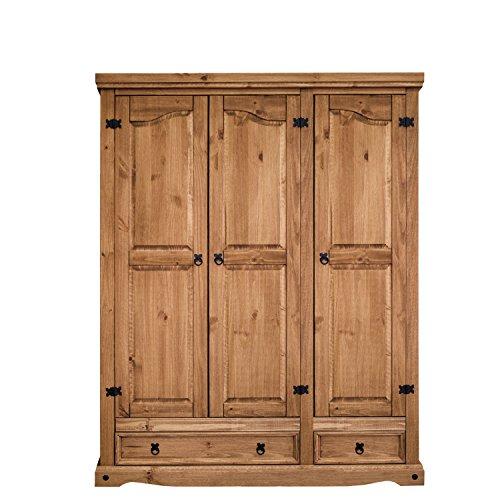 Virtualmobles Arizona - Armadio a 3ante in legno di pino massiccio, in stile rustico