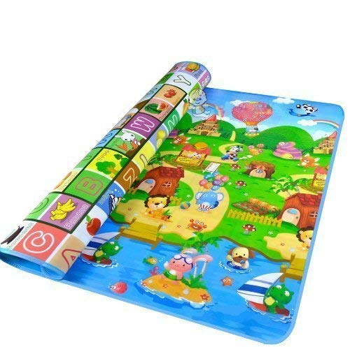 Kids Care Play Mat, Baby Crawling Floor Mat Folding Waterproof Outdoor or Indoor Use Game Mat ,0.2-Inch Thick (180x120cm, Animals)