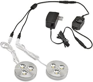 LEDQuant Set of 2 LED Dimmable Under Cabinet Lighting Kit - 3Watt LED Puck Lights, Warm White