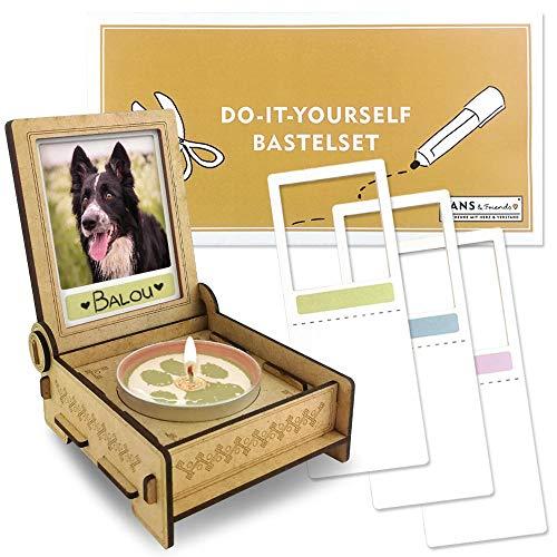 TROSTLICHT Bastelset DIY, Trauerkerze Hund & Katze, Trauergeschenk, Tier Erinnerung, Gedenk Kerze selber gestalten, Andenken Hund, Trauer Geschenke Tier