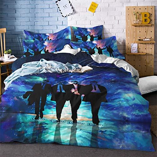 JessyHome Juego de Fundas de Almohada y edredón de Microfibra, 150 x 200 cm + 2 Fundas 50 x 75 cm -los Beatles