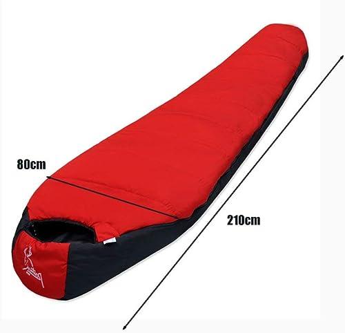 GBX Voyage de groupe en famille-Sac de couchage  ie Camping Adulte portable Double Amoureux Couture Matériel de voyage,rouge