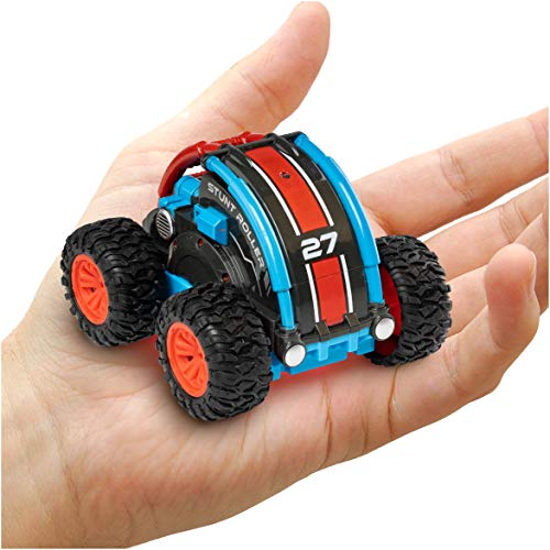 Power Your Fun Stunt Roller Mini Remote Control Car for Kids - Fast Mini Stunt RC Car, RC Toy Car 360 Flips, Tricks, and Spins with All-Terrain Tires and 2.4GHz Remote Control (Red/Blue)