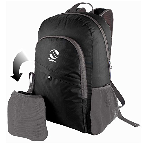Tuff-Luv Feather Light/Water Resistant Foldable Sport & Go Easy-Travel Backpack - Black