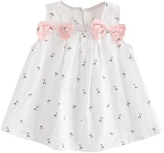 Weixinbuy Newborn Baby Girl's Sleeveless A-Line Tank Top Bowknot Summer Dresses