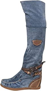 SSUPLYMY Boots Over Knee High Boots Women Retro Ankle Boots