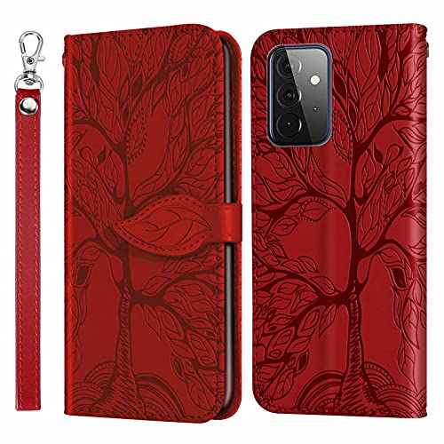MUTOUREN Funda para Samsung Galaxy A72 5G - Carcasa Folio PU Cuero Flip Cover Wallet Case Anti-rasguños Protectora Bolsillo Carteras, con Protector de Pantalla - Rojo