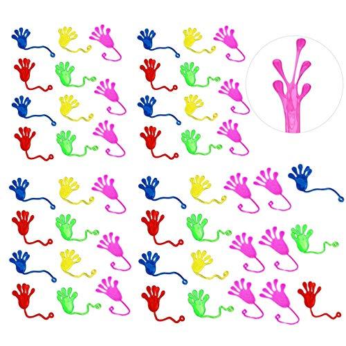 JZK 50 x Bunt klebrige Hände Spielzeug Glibber Klatschhand Klatschhände Spielzeug Gastgeschenk Geschenke für Geburtstag Party Festival neues Jahr Weihnachten