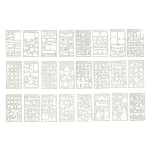 Healifty PET Schablone Zeichenschablonen Stanzschablone Stanzformen für DIY Bullet Journal Album Scrapbooking Papier Karte Kunst Deko 24 Blätter