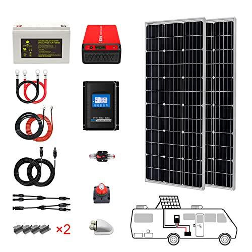 PowerECO 200 Watt (2pcs 100W Mono) Solar Panel Kit + 1500 Watt Power Inverter + Gel Battery Bank for RV, Boat, Cabin, Off-Grid 12 Volt Battery System