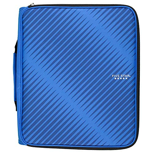 Five Star Zipper Binder, 2 Inch 3 Ring Binder, 6-Pocket Expanding File, Durable, Blue (72534)