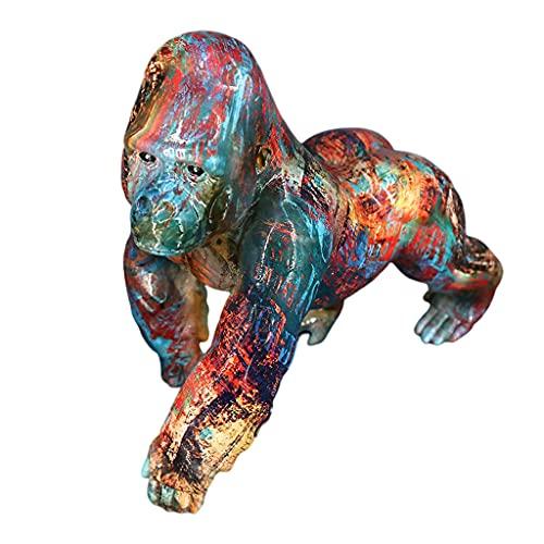 Baoblaze Escultura de Gorila Colorida Creativa Figura de orangután de Resina Figura Estatua hogar Oficina Decoración Coleccionable Arte Decorativo artesanía - B