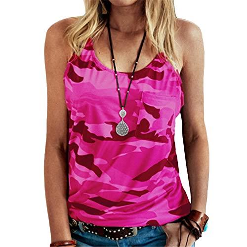 Camiseta de Camuflaje sin Mangas Informal de Primavera y Verano para Mujer Camiseta sin Mangas de Jersey con Estampado Suelto