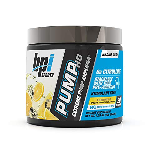 BPI Sports Pump HD – Pump, Endurance, Strength – 6g Citrulline, Beetroot, Himalayan Pink Salt – Stimulant Free – No Artificial Colors – for Men & Women – Lemonade - 20 Servings – 7.76 oz.