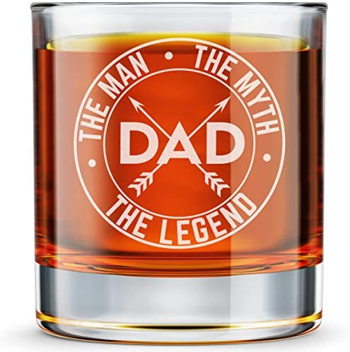 DADDY FACTORY Dad The Man The Myth The Legend Whiskey Glass Funny New Dad Gifts 10 25 oz Engraved product image